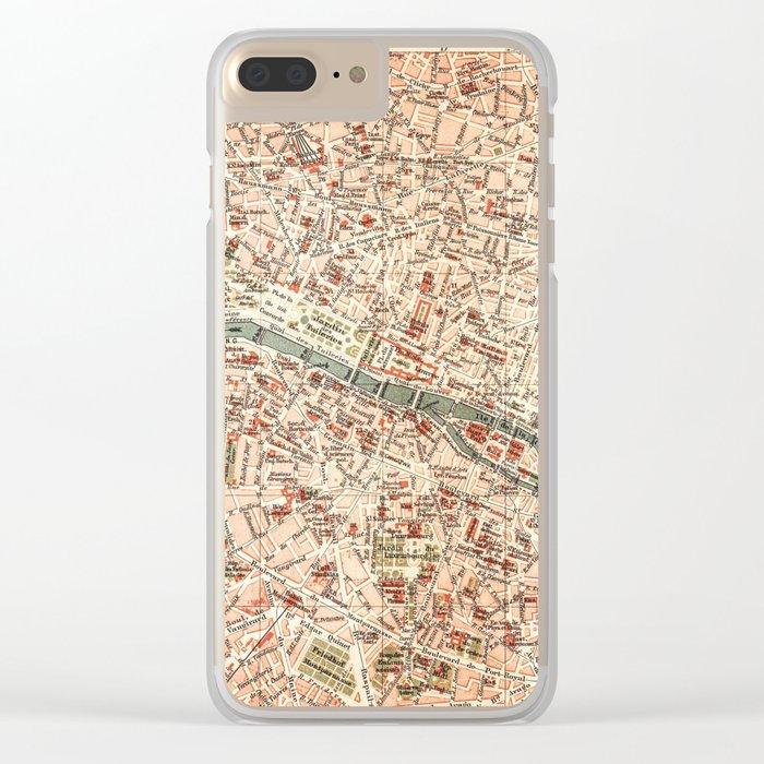 Vintage Map of Paris Clear iPhone Case