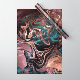 Metallic Rose Gold Marble Swirl Wrapping Paper