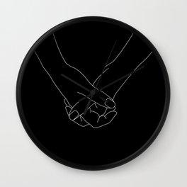 Hands line drawing illustration - Lala Black Wall Clock