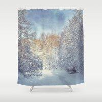 blanket Shower Curtains featuring White Blanket by Dirk Wuestenhagen Imagery