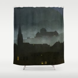 small town with castle Shower Curtain
