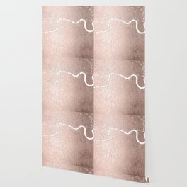 RoseGold on White London Street Map II Wallpaper