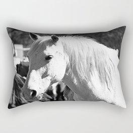 White Horse-B&W Rectangular Pillow