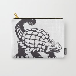 Ankylosaurus Dinosaur Prehistoric Black and White Carry-All Pouch