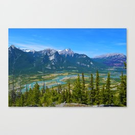 Overlooking the Athabasca River from the Morrow Peak Hike in Jasper National Park, Canada Canvas Print