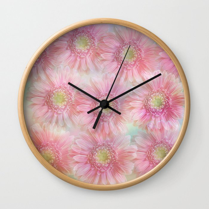 Pink daisies on a pastel background. Wall Clock
