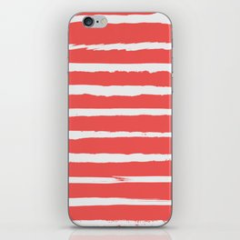 Irregular Hand Painted Stripes Coral Red iPhone Skin