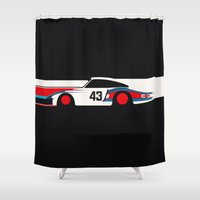 moby dick Shower Curtains featuring Moby Dick - Vintage Porsche 935/70 Le Mans Race Car by Cale Funderburk