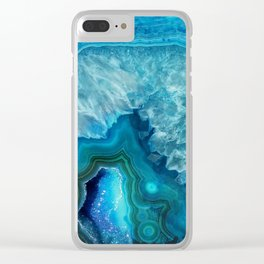 Blue Agate Clear iPhone Case