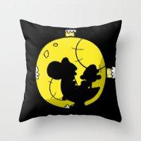 mario kart Throw Pillows featuring Yoshi and Baby Mario ( super mario bros ) by TxzDesign