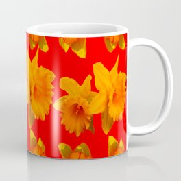 CHINESE RED GOLDEN DAFFODILS GARDEN ART DESIGN Coffee Mug