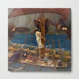 Ulysses and the Sirens - John William Waterhouse Metal Print