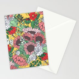 Pretty aspen gold and pink floral design Stationery Cards