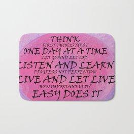 Recovry Slogans Pink Purple Bath Mat