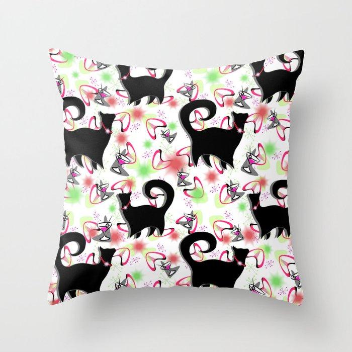 Retro Snobby Cats 2 Throw Pillow
