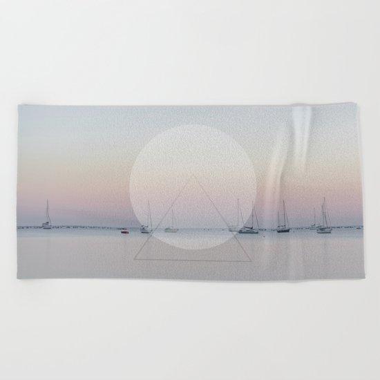 Calm Sea Sail Boats Geometric Nature Art Beach Towel