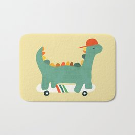 Dinosaur on retro skateboard Bath Mat