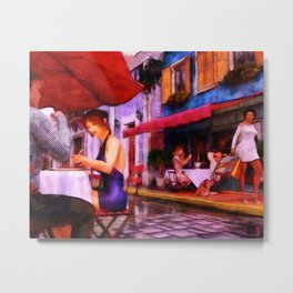 CAFE CULTURE Holiday Eat Street Slice-of-Life Metal Print