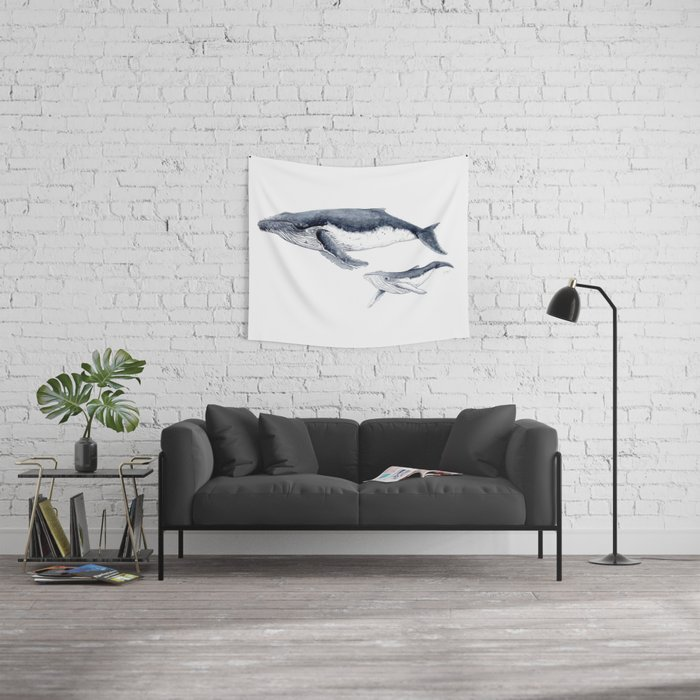 Humpback whale with calf Wall Tapestry