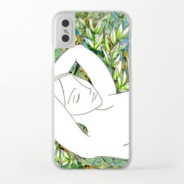 Nude with Green Flowers Clear iPhone Case