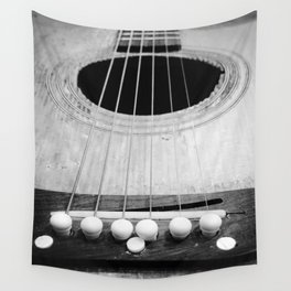 Wooden Acoustic Guitar in Black and White Wall Tapestry