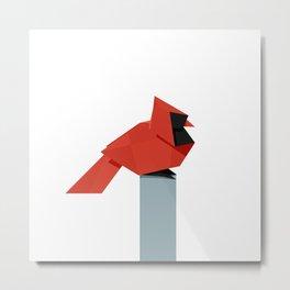 Origami Cardinal Metal Print