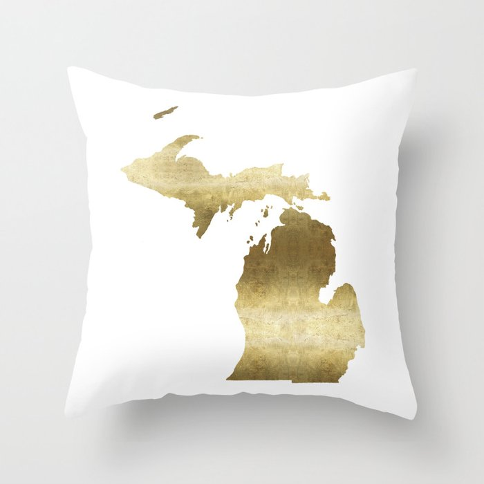 Gold In Michigan Map.Michigan Gold Foil State Map Throw Pillow By Huntleigh Society6