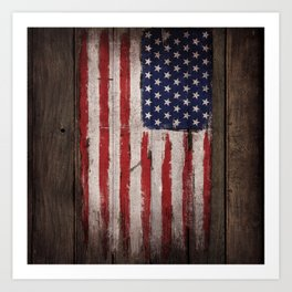 Wood American flag Art Print