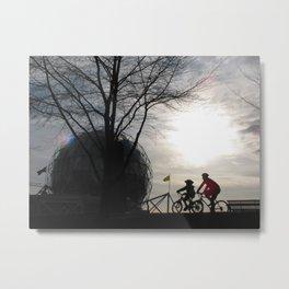 Biking, Science World, Vancouver Metal Print