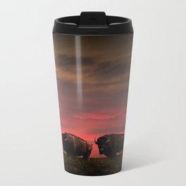 Two American Buffalo Bison at Sunset Metal Travel Mug