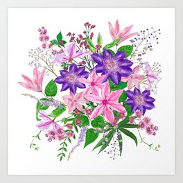 Bouquet with pink and violet clematis flowers Art Print