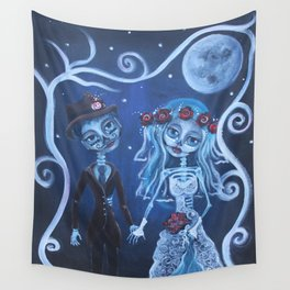 """Forever Love""  Dia de los Muertos Bride and Groom Wall Tapestry"