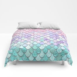 Mermaid Pastel Pink Purple Aqua Teal Comforters