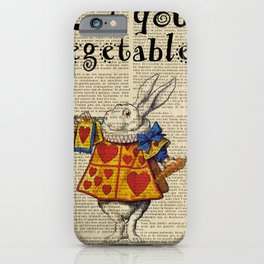 white rabbit alice in wonderland mad eat your vegetables  iPhone Case