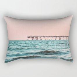 Beach Pier Sunrise Rectangular Pillow