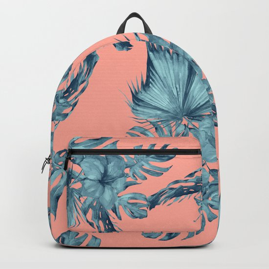 Dreaming of Hawaii Teal Blue on Coral Pink Backpack