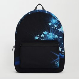 Sparkling Blue Christmas Tree Modern Stars Backpack
