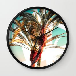 Modern summer tropical palm trees seascape photography white abstract geometric brushstrokes paint Wall Clock