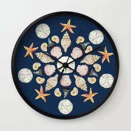 Florida Beachcombing Mandala 1 - Watercolor Wall Clock