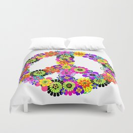 Peace Sign of Flowers Duvet Cover