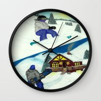 snowboarding Wall Clocks featuring Snowboarding ; Putting In Your Eight Hours by N_T_STEELART