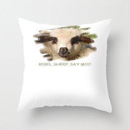 Rebel Sheep Say Moo Throw Pillow