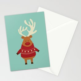 Rudolph Red Nosed Reindeer in Ugly Christmas Sweaters Stationery Cards