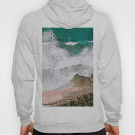 Waves of the ocean | Ericeira fine art travel photography | sea drone wall art Hoody