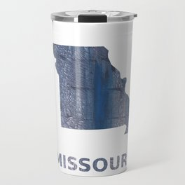 Missouri map outline Slate gray vague watercolor painting Travel Mug