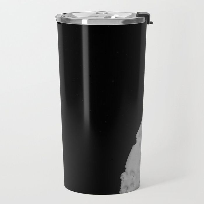 Snow covered lake and swan Travel Mug