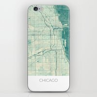 chicago map iPhone & iPod Skins featuring Chicago Map Blue Vintage by City Art Posters