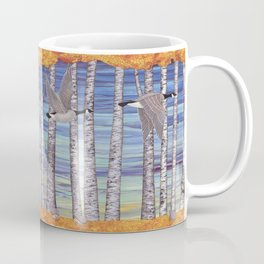 Canada geese, hedgehogs, and autumn birch trees Coffee Mug