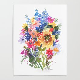 Sunflowers and Wildflowers Poster