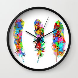 colorful feathers Wall Clock